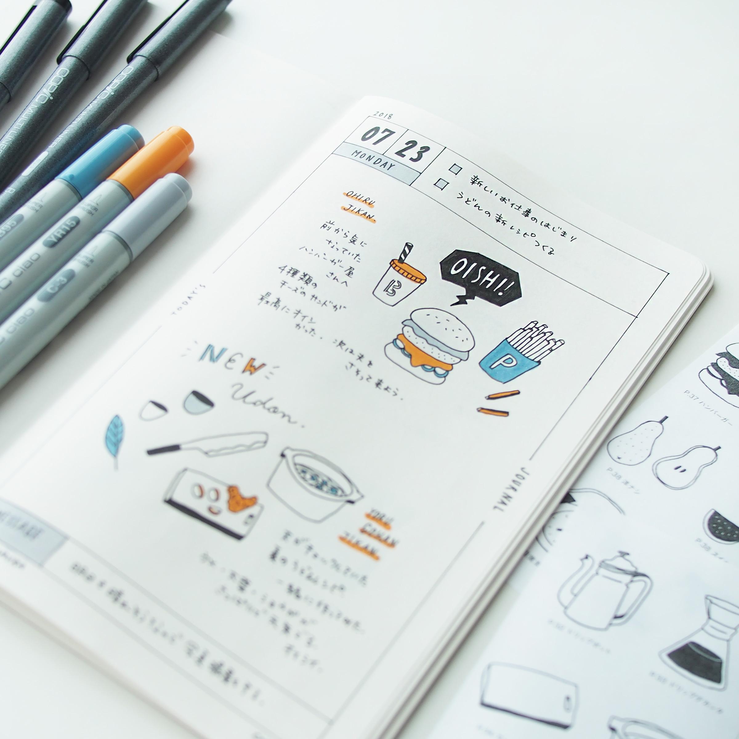 コピックで手帳に小さなカラーイラストを描く方法 Ayano Usamura兎
